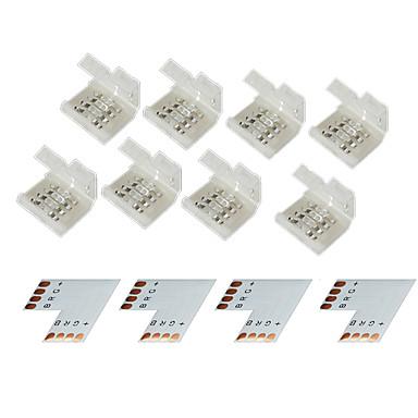 z®zdm 4 gruppe 4-pins loddefri stik til 10mm 5050 RGB LED lysstofrør