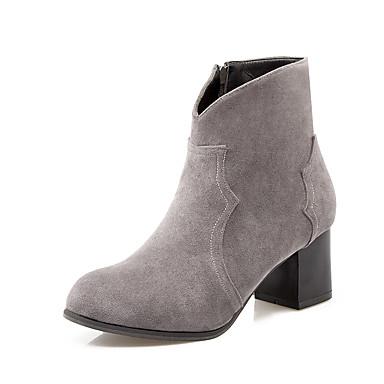 Støvler-Kunstlæder-Ankelstøvler / Modestøvler-Dame-Sort / Gul / Grå-Formelt-Tyk hæl