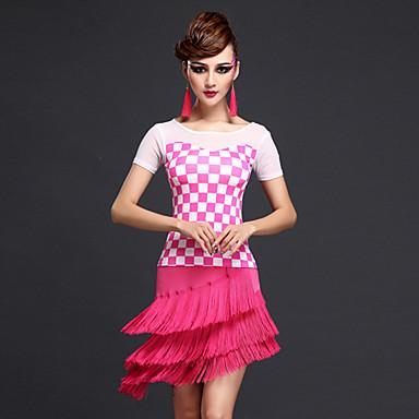 Latin dans Outfits Dames Prestatie Rayon Tule Melkvezel 2-delig Korte Mouw Natuurlijk Top Rok