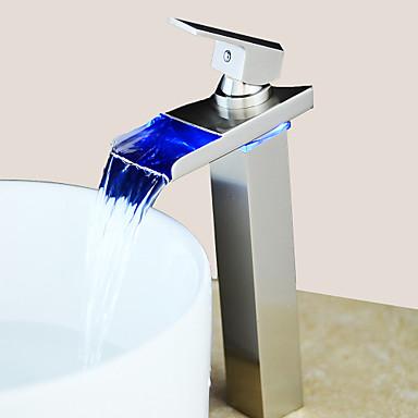 Moderna Conjunto Central LED Válvula Cerâmica Uma Abertura Monocomando e Uma Abertura Níquel Escovado , Torneira pia do banheiro