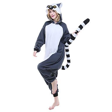 Kigurumi-pyjamas lemur Onesie-pyjamas Kostume Polarfleece Blekk Blå Cosplay Til Voksne Nattøj Med Dyr Tegneserie Halloween Festival /