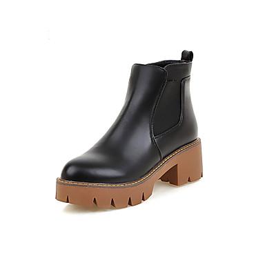 Bootsit-Leveä korko-Naisten-Tekonahka-Musta Keltainen Harmaa-Ulkoilu Toimisto Rento Urheilu-Platform