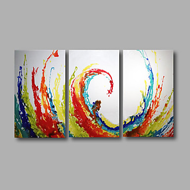 Hånd-malede Abstrakt / Pop Oliemalerier,Moderne Tre Paneler Canvas Hang-Painted Oliemaleri For Hjem Dekoration