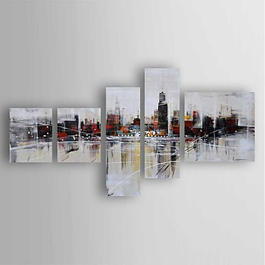 Pintura al óleo pintada a colgar Pintada a mano - Abstracto Modern Incluir marco interior / Cinco Paneles / Lona ajustada