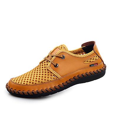 Homens sapatos Tule Primavera Verão Outono Oxfords Caminhada Cadarço para Casual Amarelo Marron Verde Azul