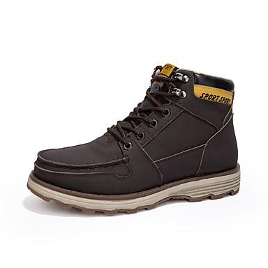 Homens sapatos Couro Ecológico Verão Outono Conforto Botas Caminhada Cadarço para Casual Amarelo Marron