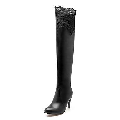 Mujer PU Primavera / Otoño / Invierno Confort / Botas de Moda Botas Paseo Tacón Stiletto Dedo redondo Flor / Combinación Blanco / Negro / Rojo / Fiesta y Noche