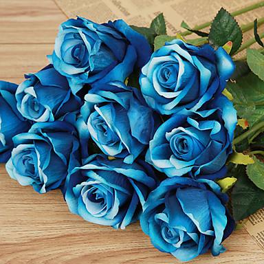 1 Afdeling Plastik Roser Bordblomst Kunstige blomster