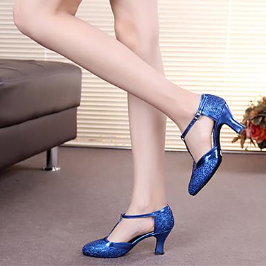 baratos Shall We® Sapatos de Dança-Mulheres Glitter Sapatos de Dança Moderna Presilha / Vazados Salto Salto Personalizado Personalizável Marron / Dourado / Azul Claro / Interior / Espetáculo