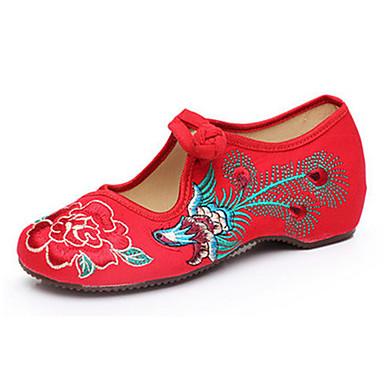 Dame Sko Kanvas Forår Sommer Efterår broderede sko Mary Jane Komfort Fladsko Gang Flade hæle Spænde Blomst for Afslappet Sort Rød