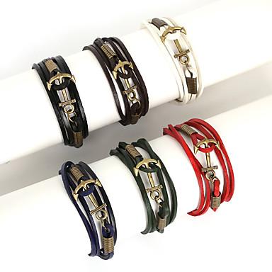 Heren Bedelarmbanden Lederen armbanden Wikkelarmbanden Meerlaags Modieus Leder Legering Lijnvorm Anker Sieraden Dagelijks Causaal Sport