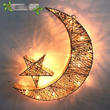 1pc førte tilfældig farve julegave boligindretning jern kunst måne stjerne nat lys