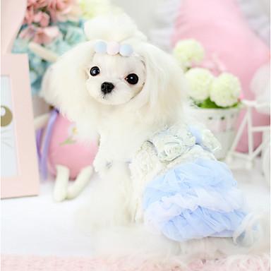 Cachorro Vestidos Roupas para Cães Fantasias Mantenha Quente Laço Formais Azul Rosa claro