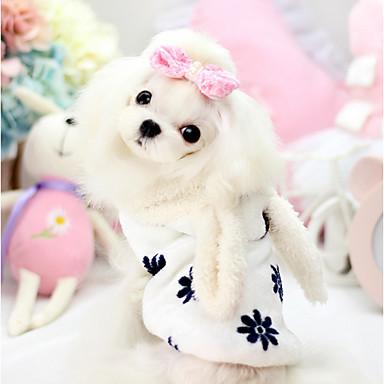 Cachorro Camisola com Capuz Roupas para Cães Fantasias Mantenha Quente Desenho Animado Branco Rosa claro Ocasiões Especiais Para animais