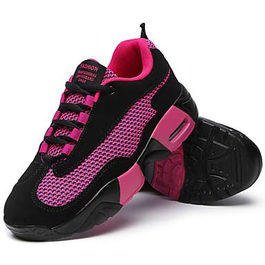 Sneakers-StofDame-Sort Rød-Fritid Sport-Flad hæl