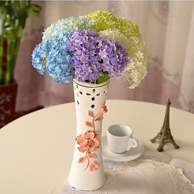 1pc 1 Ramo Poliéster / Plástico Hortênsia Flor de Mesa Flores artificiais 12.9inch/33CM