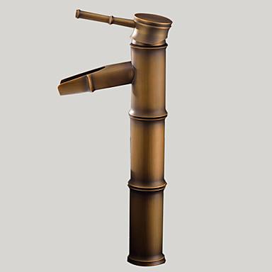 Art Deco/Retro Pesuallas Vesiputous Keraaminen venttiili Yksi reikä Yksi kahva yksi reikä Antiikkimessinki, Kylpyhuone Sink hana