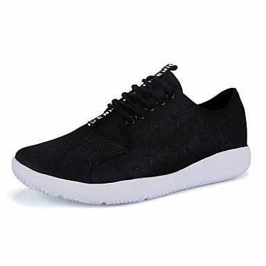 Sneakers-Tyl-Komfort-Herre-Sort Hvid Grå-Udendørs Fritid Sport-Flad hæl