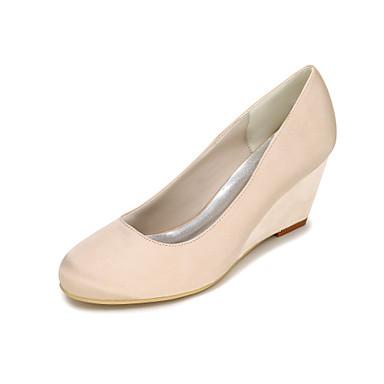 Damen Schuhe Seide Frühling Sommer High Heels Keilabsatz für Hochzeit Party & Festivität Blau Rosa Golden Champagner Elfenbein