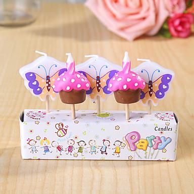 party dekoration HappyBirthday fødselsdag stearinlys sæt (5 stykker) sommerfugle og kager lille stearinlys