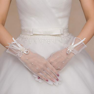Tule Polyester Polslengte Handschoen Bruidshandschoenen Feest/uitgaanshandschoenen With Strass Strik Parel