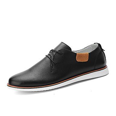 Masculino sapatos Couro Ecológico Primavera Verão Outono Inverno Conforto Oxfords Cadarço Para Casamento Casual Festas & Noite Preto