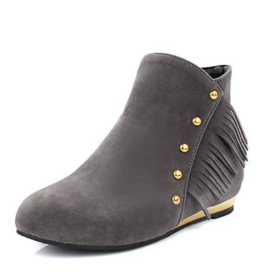 Støvler-Kunstlæder-Ankelstøvler / Modestøvler-Dame-Sort / Gul / Rød / Grå-Udendørs / Kontor / Hverdag-Lav hæl