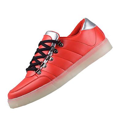 Sneakers-PU-Komfort Light Up Sko-Herre-Blå Rød-Fritid Sport-Flad hæl