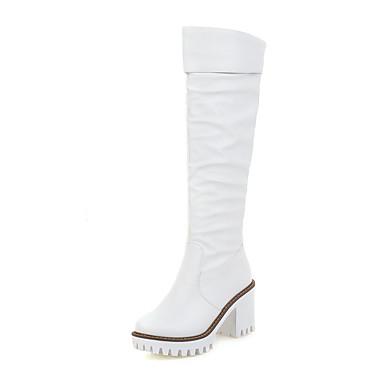 Damen Schuhe Kunstleder Herbst Winter Slouch Stiefel Stiefel Blockabsatz Kniehohe Stiefel Gerafft Für Kleid Weiß Schwarz Gelb