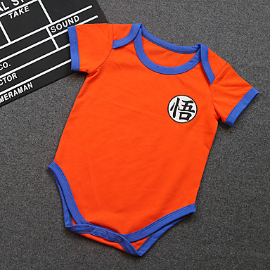 Baby Unisex Overall og jumpsuit Afslappet/Hverdag Ensfarvet, Bomuld Sommer Kort Ærme Orange