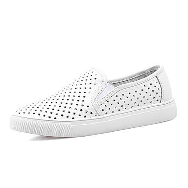 Loafers og Slip-ons-Tyl Kunstlæder-Komfort-Dame-Sort Hvid-Udendørs Fritid Sport-Flad hæl