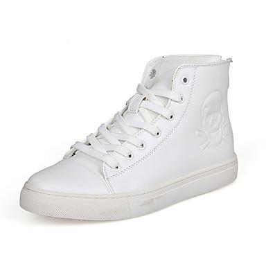 Sneakers-PU-Komfort-Herre-Sort Hvid Sølv-Udendørs Fritid Sport-Flad hæl