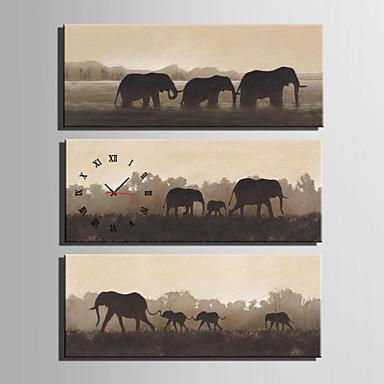 Moderne / Nutidig Dyr Vægur,Rektangulær Lærred 30 x 60cm(12inchx24inch)x3pcs/ 40 x 80cm(16inchx32inch)x3pcs Indendørs Ur