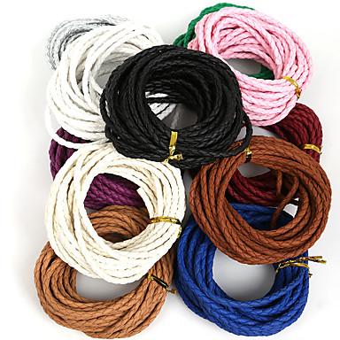 beadia rodada trançado pu corda cordão de couro 4 milímetros de jóias diy tomada de colar pulseira artesanal (5mts)