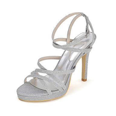 Sandaalit-Piikkikorko-Naisten-Glitter-Musta Sininen Punainen Hopea Kulta-Häät Puku Juhlat