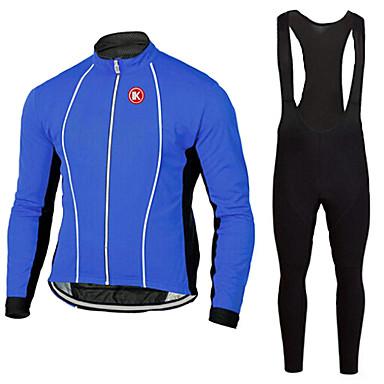 KEIYUEM Langt Ærme Cykeltrøje og tights med seler Unisex Cykel Tøjsæt/JakkesætÅndbart Hurtigtørrende Støv-sikker Påførelig Komprimering