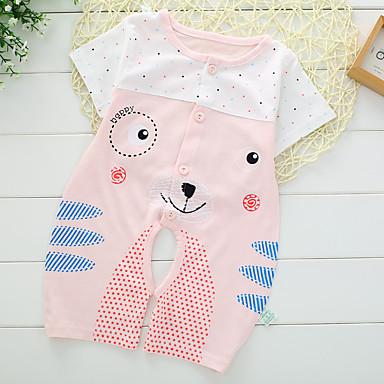 Baby Unisex Overall og jumpsuit Afslappet/Hverdag Dyretryk, Bomuld Sommer Kort Ærme Dyretryk Gul Blå Lys pink