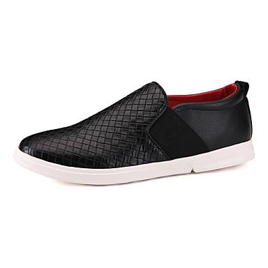 Sneakers-PU-Komfort-Herre-Sort Brun Hvid-Fritid Sport-Flad hæl