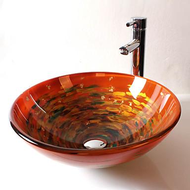 Contemporáneo T12*Φ420*H145MM Redondo material del disipador es Vidrio TempladoLavabo de Baño / Grifería de Baño / Anillo de Montura de