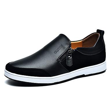 Miehet Kengät PU Kevät Syksy Comfort Mokkasiinit Kävely Tasapohja Kanssa Vetoketjuilla Käyttötarkoitus Kausaliteetti Musta Ruskea Sininen