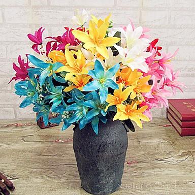 1 Tak Polyester Kunststof Lelies Bloemen voor op tafel Kunstbloemen
