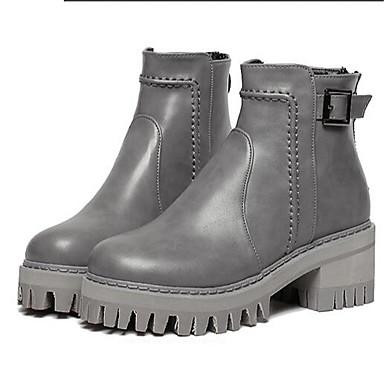 Støvler-Kunstlæder-Ridestøvler-Dame-Sort Grå-Udendørs Fritid-Creepers Platå