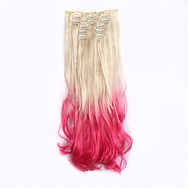 nye ankomst 7pcs / sæt hårpåsætning klip ind på syntetisk krøllet ombre hår extensions 613tpink hår stykke dip dye ombre