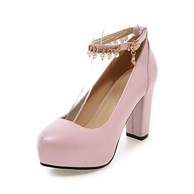 Mulheres Sapatos Couro Ecológico Verão Outono Saltos Salto Robusto Pérolas Sintéticas para Casual Escritório e Carreira Branco Preto Roxo
