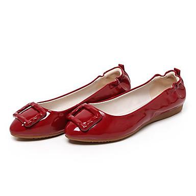Fladsko-PU-Komfort-Damer-Sort Rød Mandel Bourgogne-Udendørs-Flad hæl