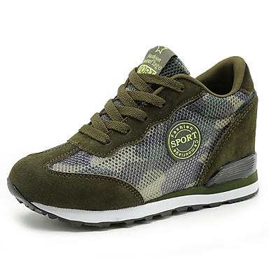 Dame-Semsket lær Tyll-Flat hæl-Komfort-Flate sko-Fritid Sport-Blå Grønn