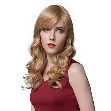 natuurlijk golvend lang blond menselijk haar pruiken voor vrouwen