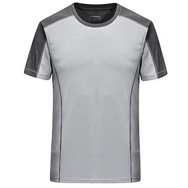 Heren Hardloopshirt Korte mouw Comfortabel Zonbescherming Kleding Bovenlichaam voor Training&Fitness Hardlopen Katoen Chinlon Slank Zwart