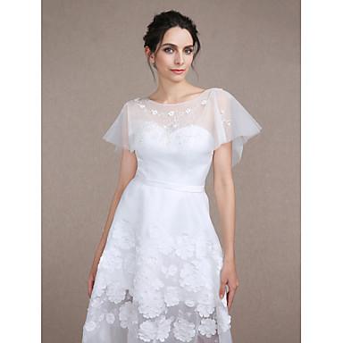 Mouwloos Tule Bruiloft Feest/Avond Damesomslag With Strass Kralen Pailletten Borduurwerk Patroon Korte cape