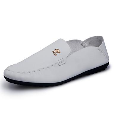 Herren-Flache Schuhe-Lässig-PU-Flacher AbsatzSchwarz Weiß Orange